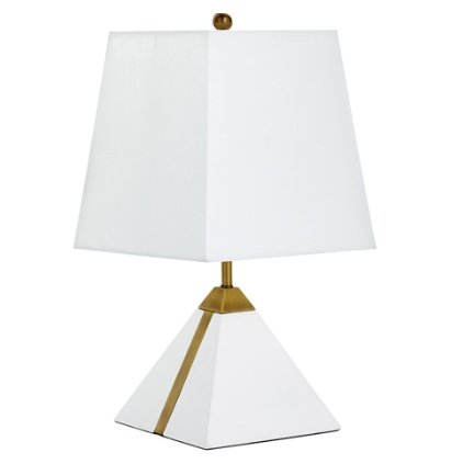gold + white pyramid lamp