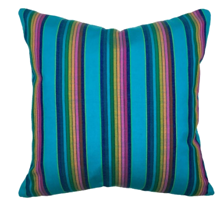 turquoise stripe throw pillow