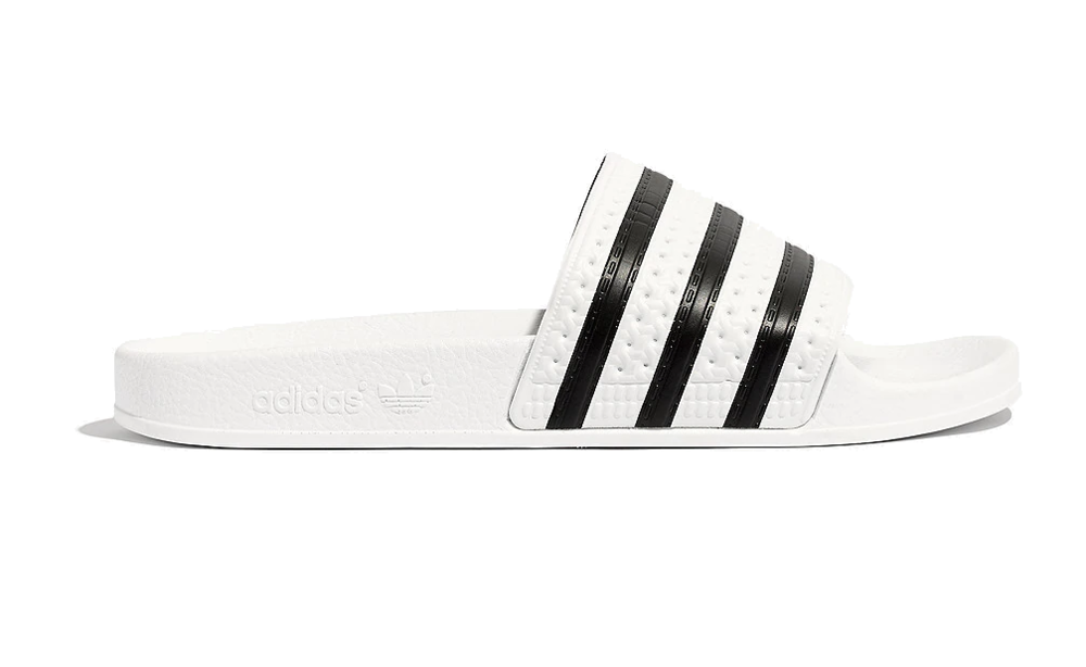 black + white adidas sandals