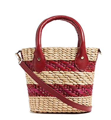 red stripe pool tote bag