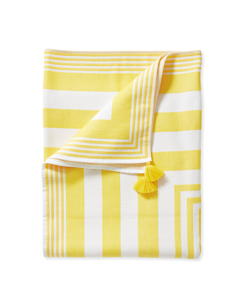 yellow + white stripe towel