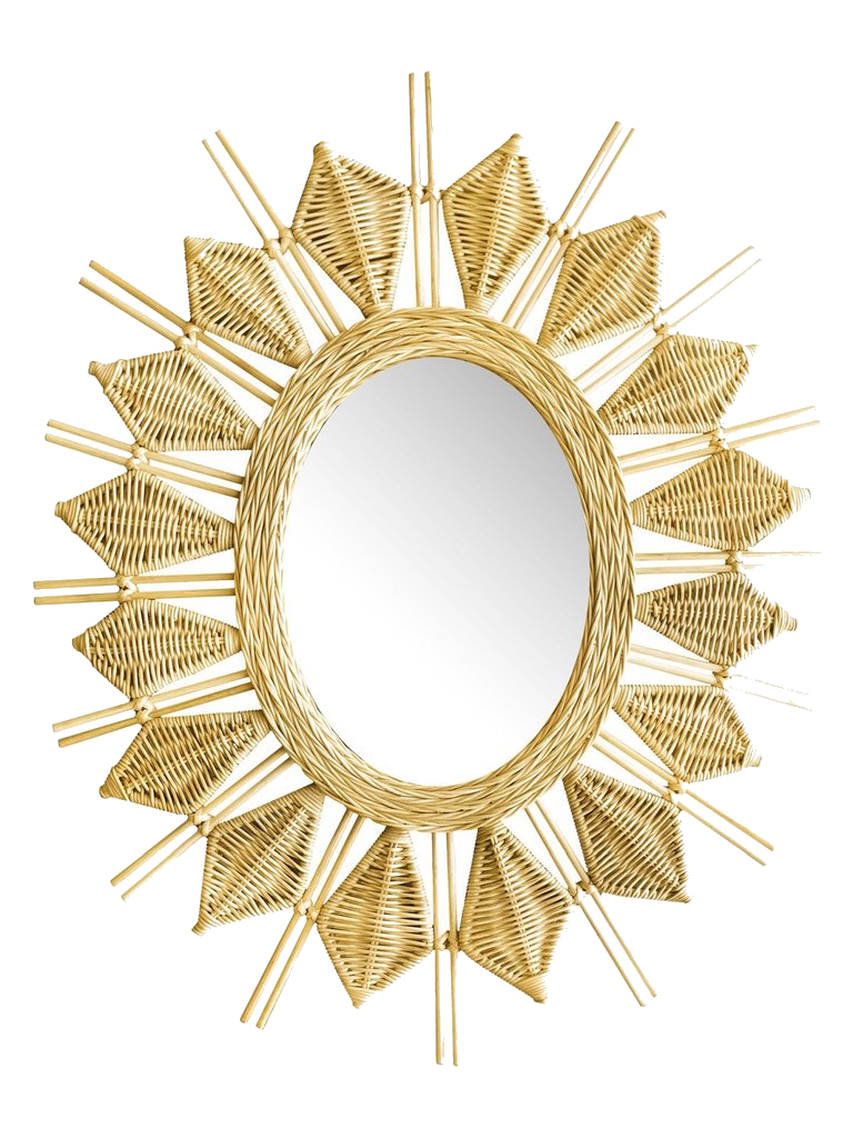 rattan sunburst mirror