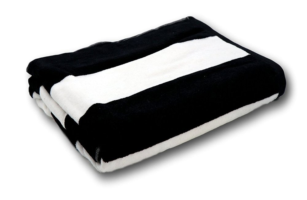 black + white stripe beach towel