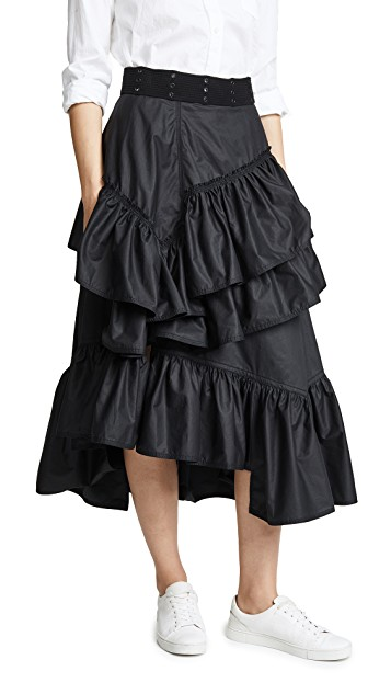 black tiered flamenco skirt