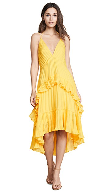 yellow chiffon pleated dress