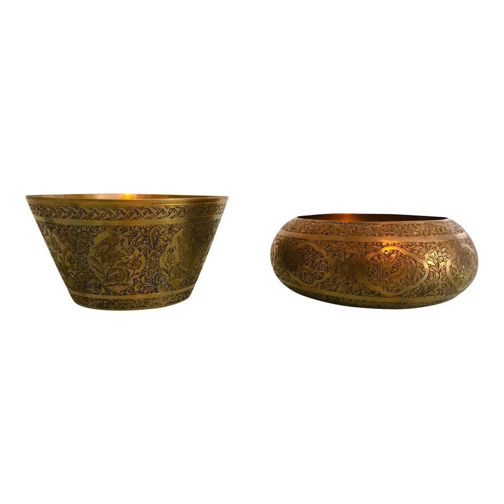 pair vintage brass bowls