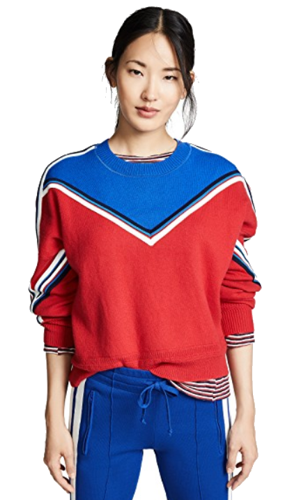 red + blue varsity sweater