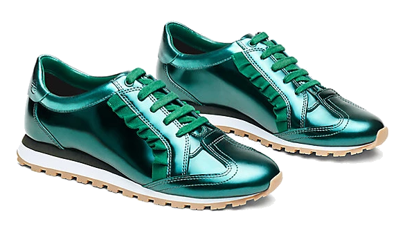 green metallic ruffle sneakers