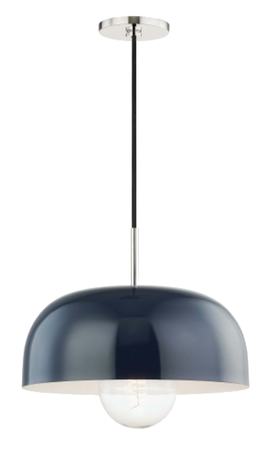 navy + nickel pendant light