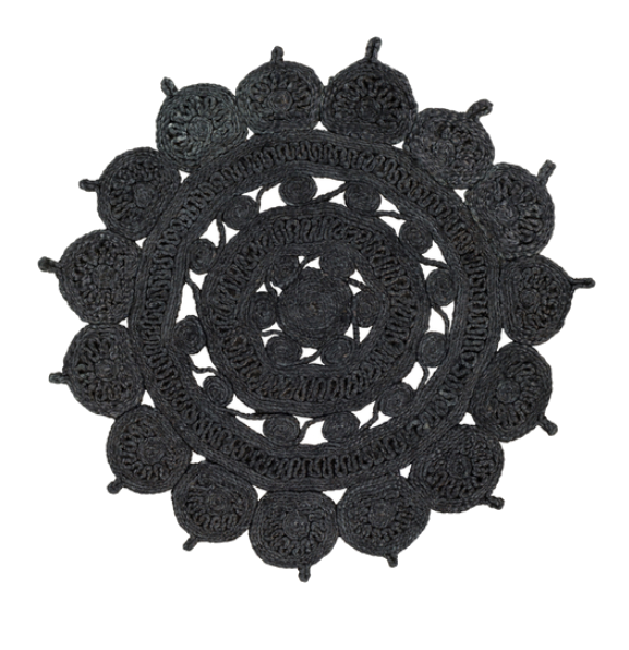 black sunburst rug