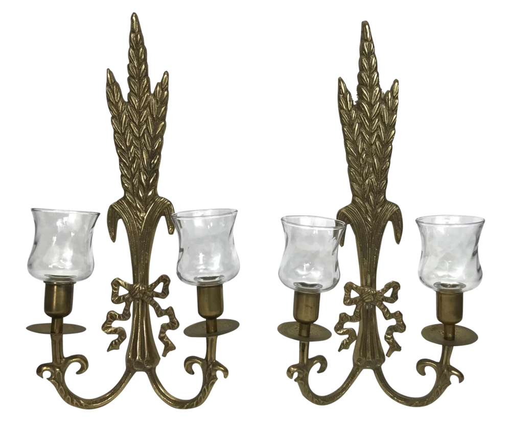 pair of brass vintage sconces