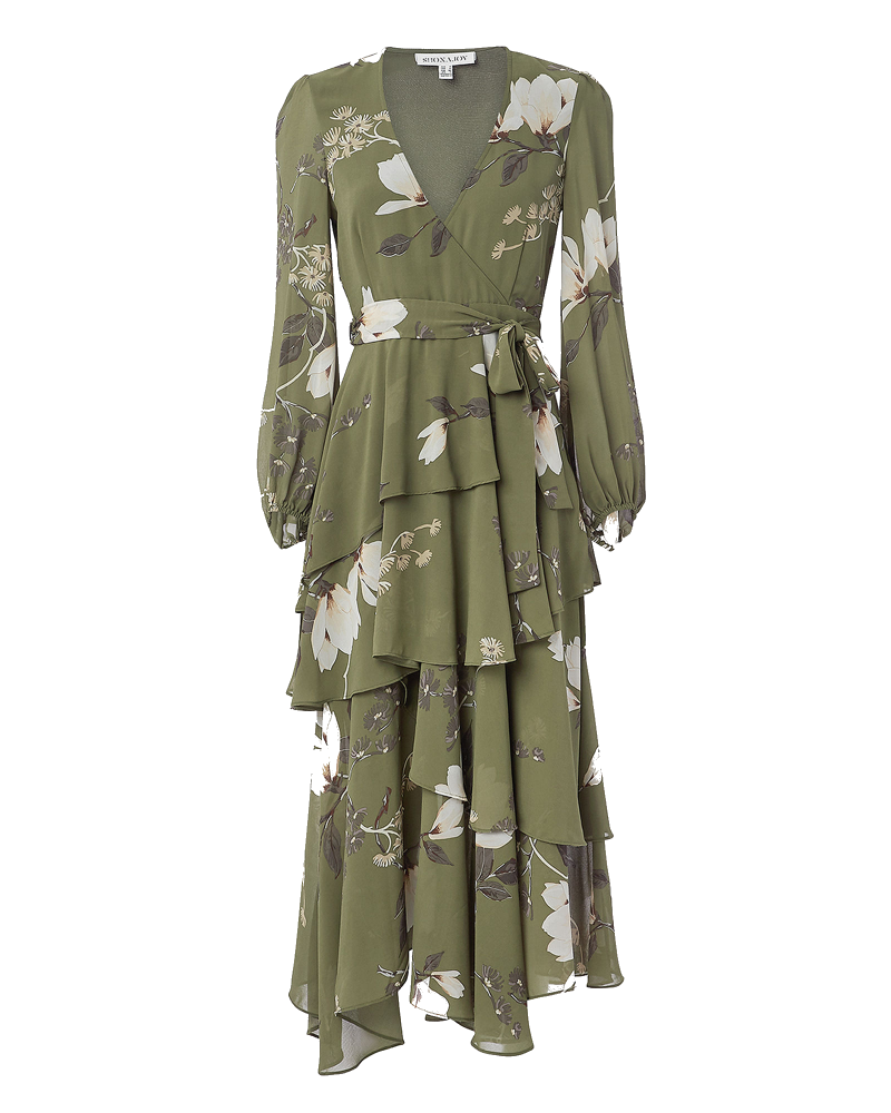 green floral wrap dress