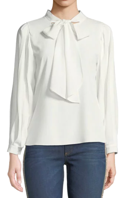 white chiffon neck tie blouse