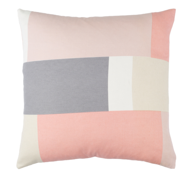 geometric blush + gray pillow