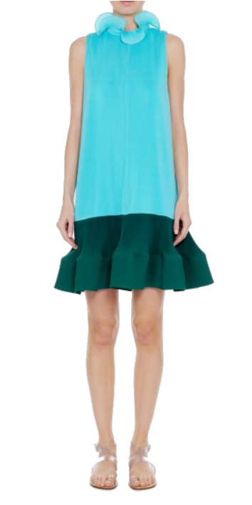 tibi green + blue ruffle dress