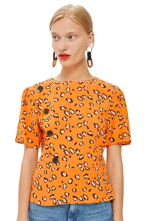 orange leopard button blouse