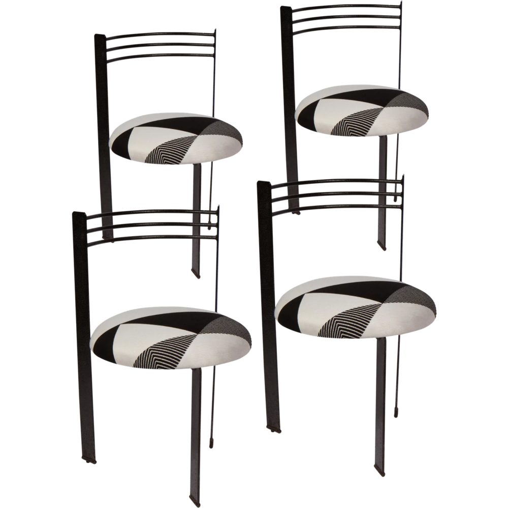 1980s black + white dining chairs