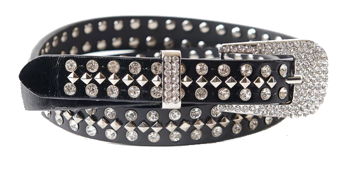 black + rhinestone belt