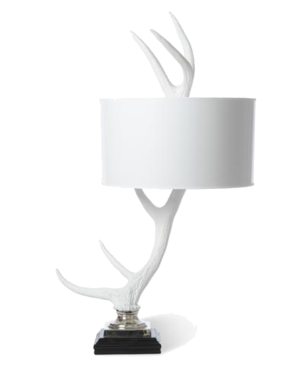 white elk antler table lamp