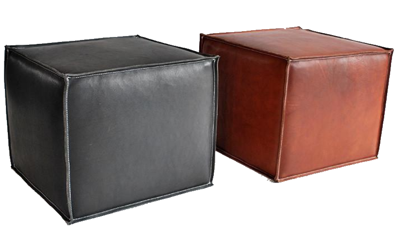 garza marfa luggage leather poufs