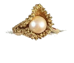 antique 14k + pearl ring