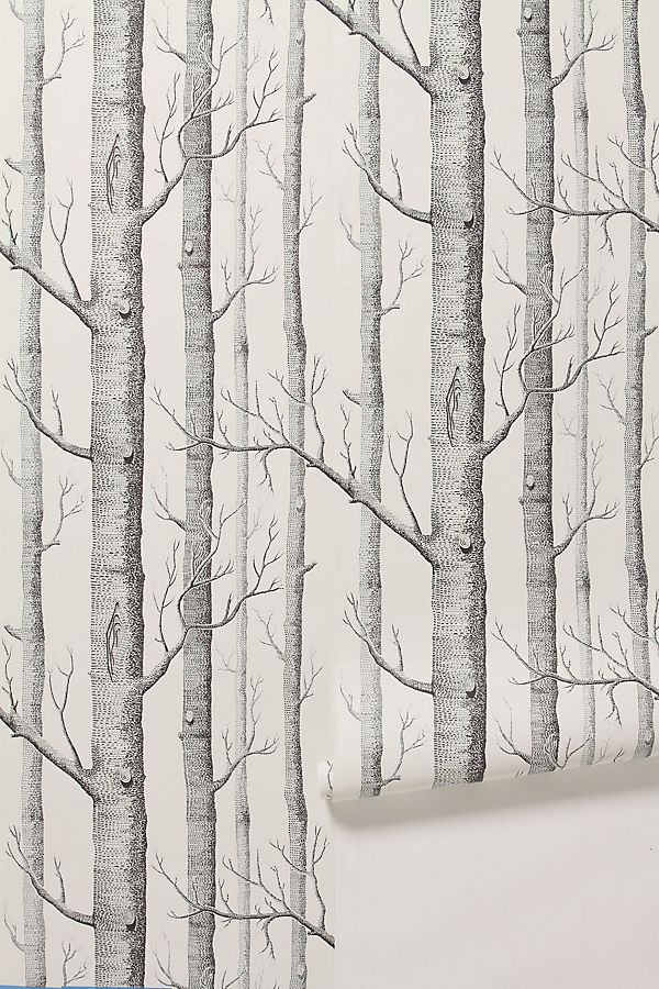 black + white woods wallpaper