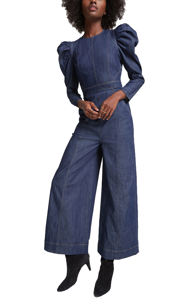 ulla johnson denim jumpsuit