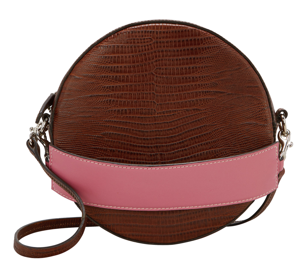 brown + pink round bag