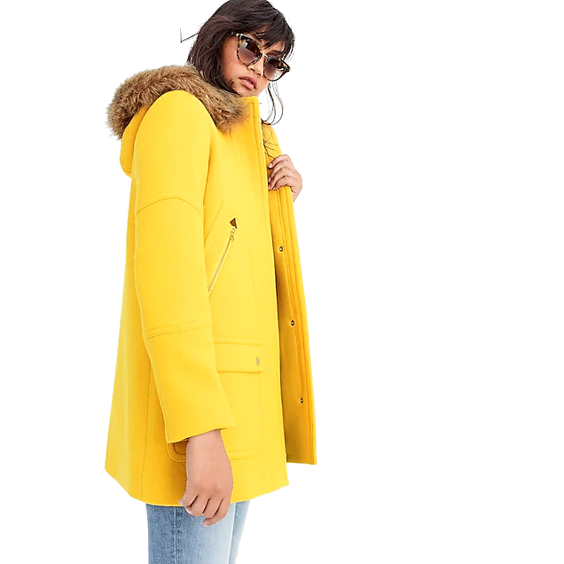 j. crew yellow coat