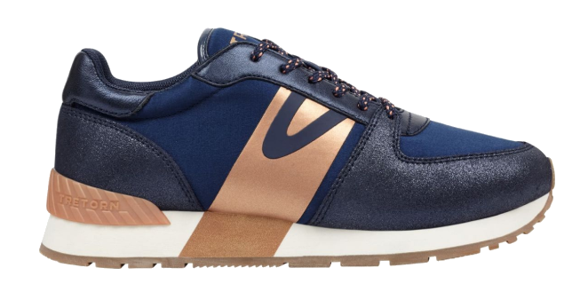 navy + rose gold sneakers