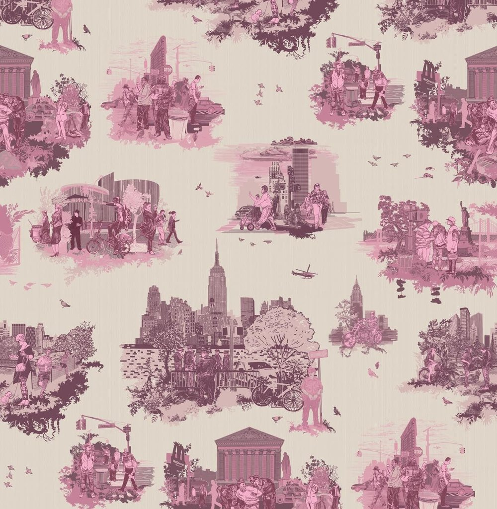 pink new york toile wallpaper