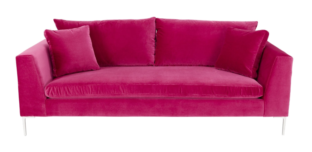 abc carpet + home pink sofa