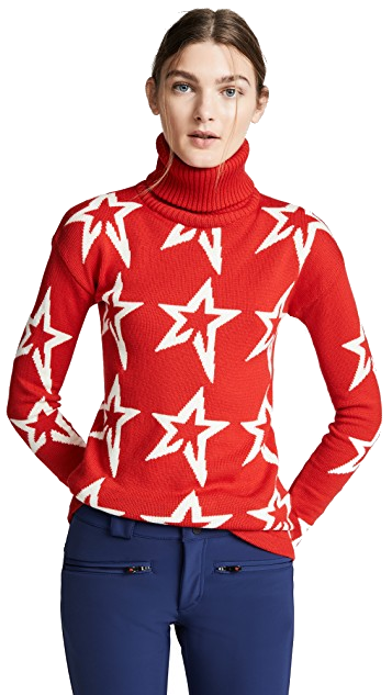 red + white star sweater