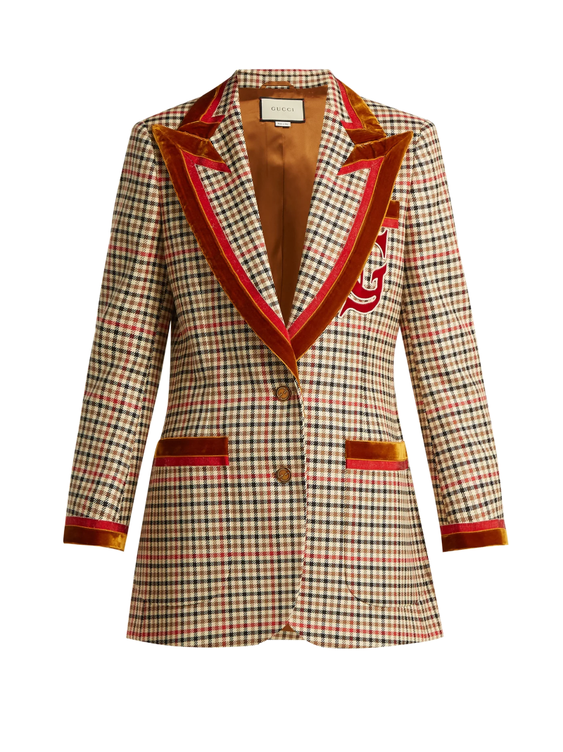 gucci red velvet trim blazer