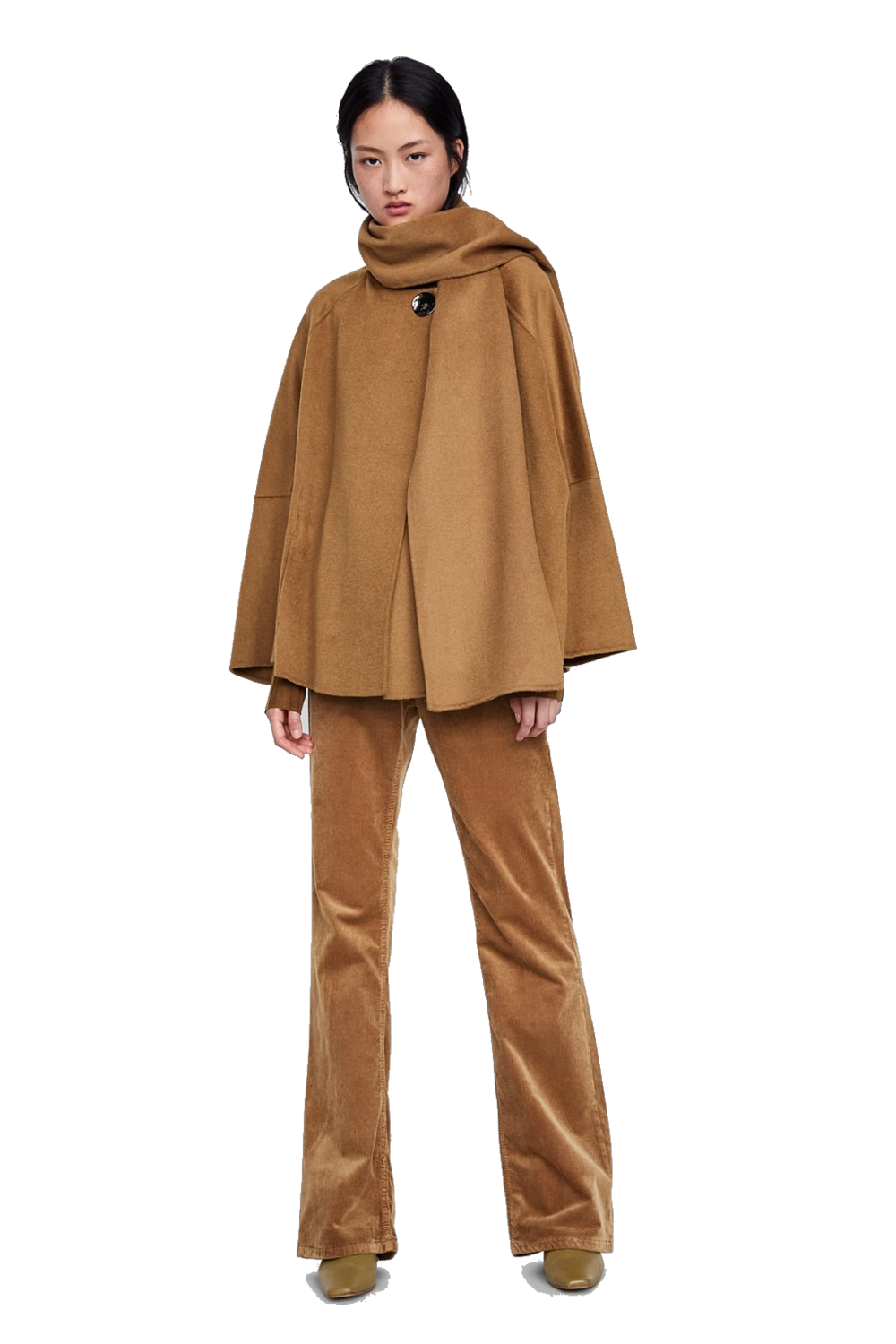 zara camel cape coat
