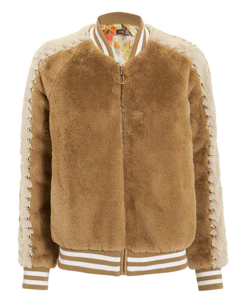 camel faux fur bomber jacket