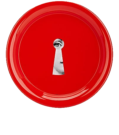 red fornasetti tray