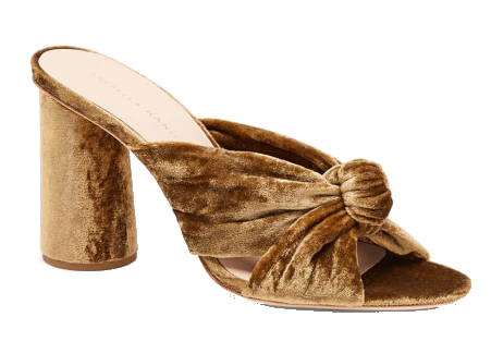 goldenrod velvet mules