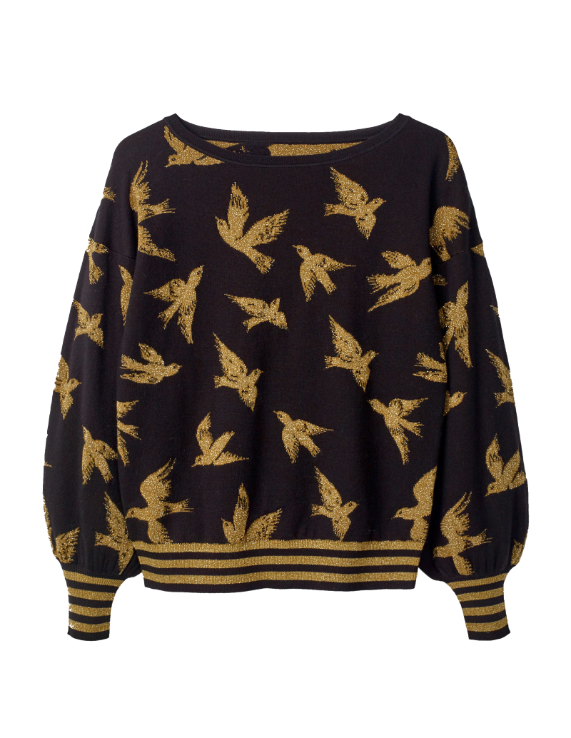 black+ gold bird sweater