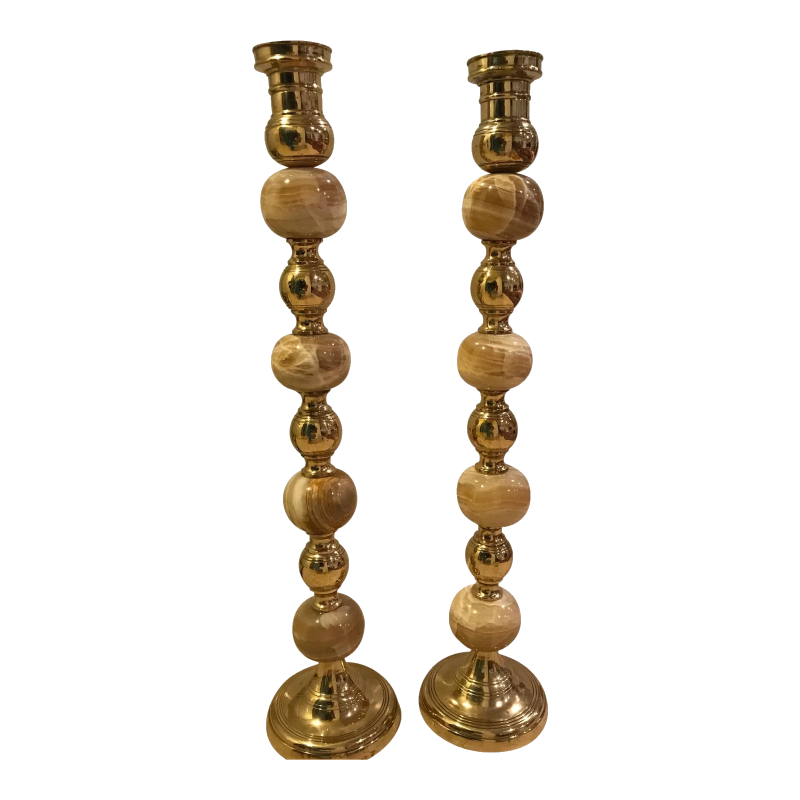 onyx + brass candlesticks