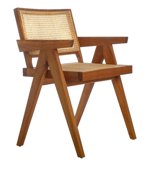 cane + wood dining chair