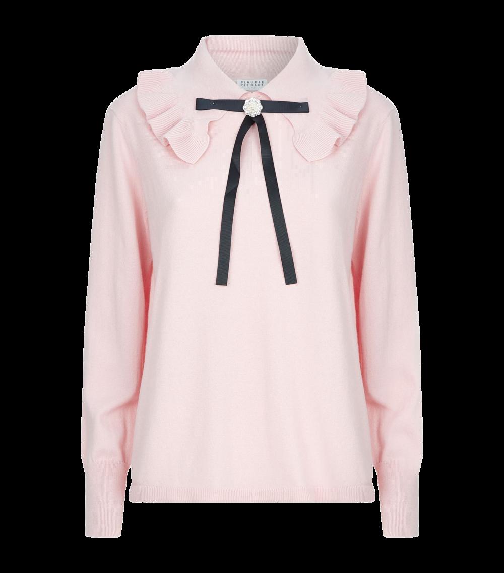 pink ruffle trim sweater