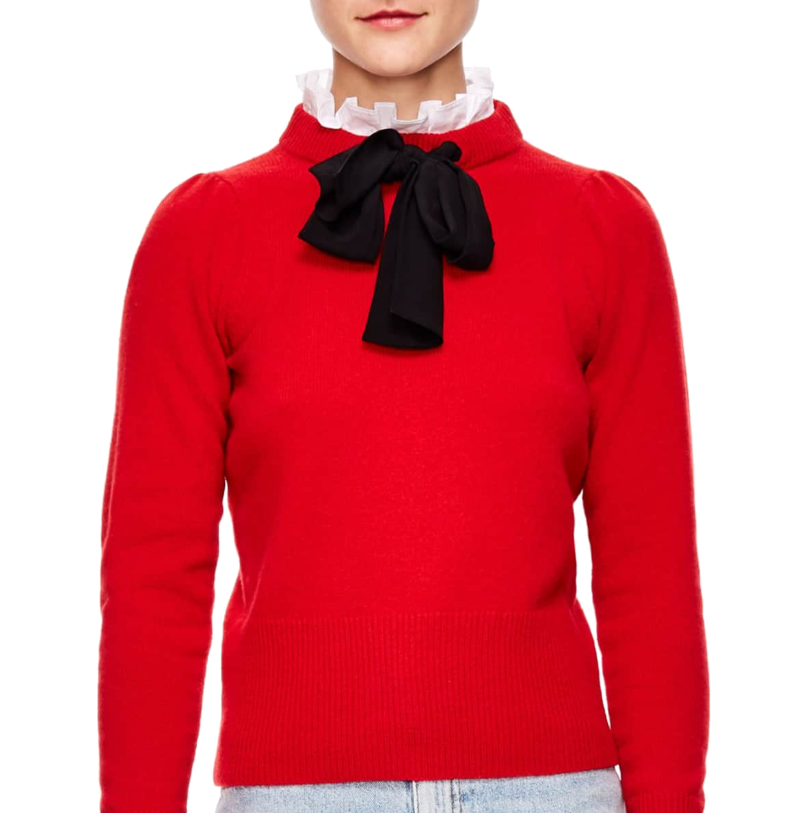 red tie-neck sweater