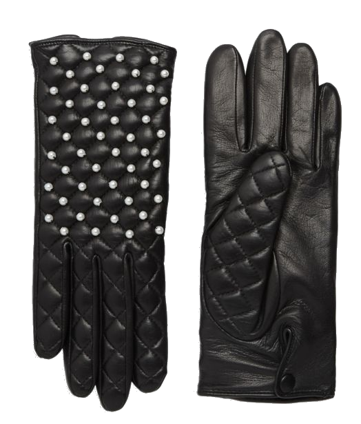 quilted leather + pearl gloves