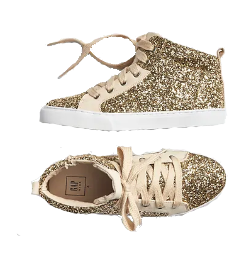 gold glitter high top sneakers