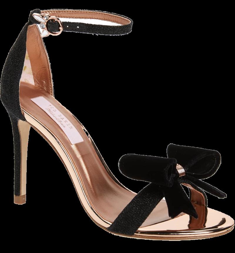 black + rose gold bow heels