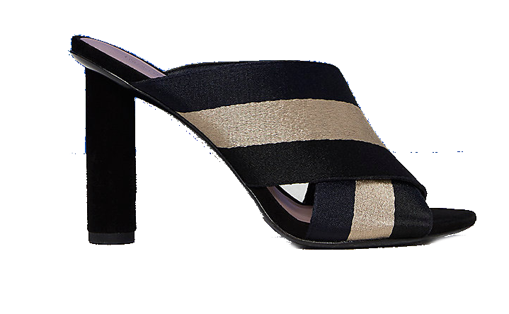 dvf black + gold mule heels