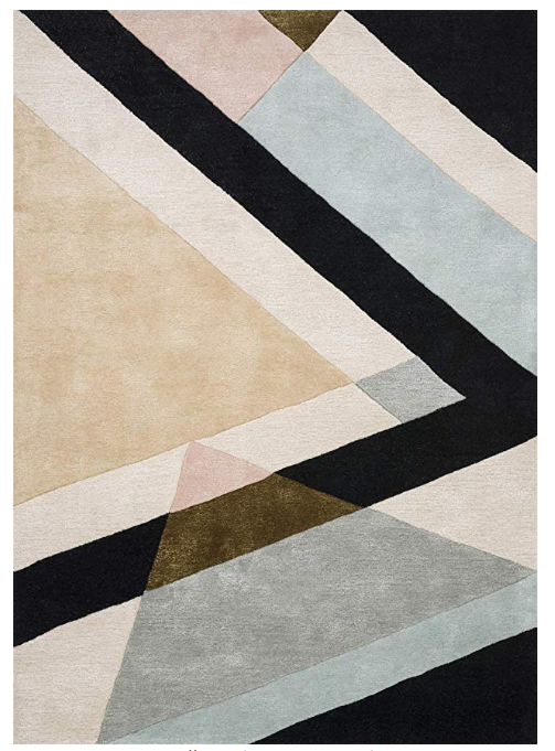 blush + black geometric rug