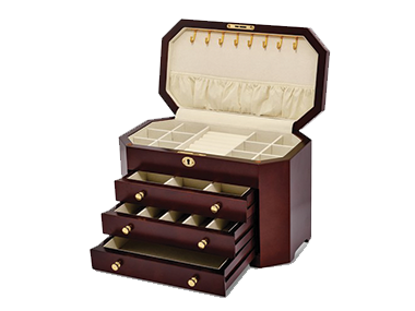 Jewelry boxes available in beautiful wood finishes with drawers and compartments to organize all her favorite jewelry.
