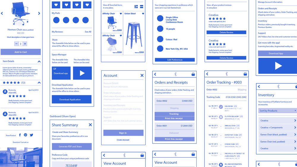 Wireframes, interface design